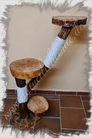 Naturkratzbaum Kratzbaum Holzscheibe Palmblatt Kratzstamm