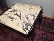 Couchtisch 70er-Jahre Chromstahl und Marmor
