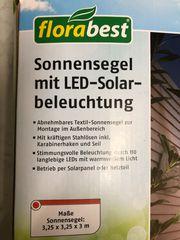 Sonnensegel neu mit LED-Solar Beleuchtung