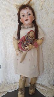 Seltene Antike Bisquitporcelankopfpuppe Gebrüder Heubach