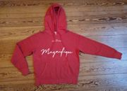 roter Hoody mit Frontprint L