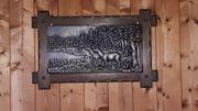 Zinnbilder mit Eicherahmen - Jagdmotive