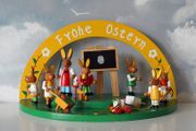 Alte Osterdekoration Holz Handarbeit Hasenschule