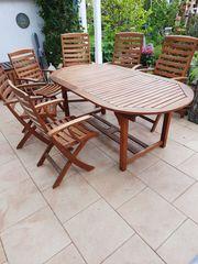 Terrassen- Gartentisch und Stühle aus