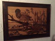 3 einzigartige Tierbilder aus Holz