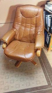 Gut erhaltener Echtleder Sessel