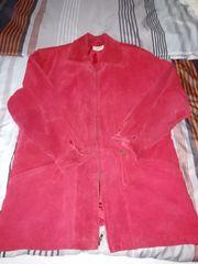 Echte Wild-Leder-Jacke Farbe rot Gr