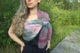 Silk und Mochair Tuch -Schal / Frauenmode, handgestrickt