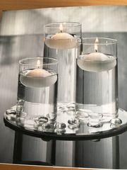 3 Kerzengläser mit Spiegel und