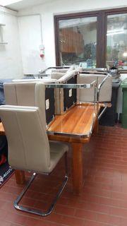 Kiefertisch mit 6 Freischwinger Stühle