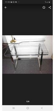 Schreibtisch Glas mit Chromgestell moderne