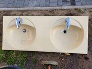 Doppel Waschtisch Waschbecken Konsole Armatur