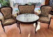 Sitzgruppe Chippendale Tisch mit Glasplatte