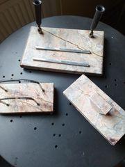 Schreibtischgarnitur 3-teilig beige brau antik