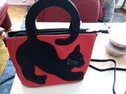 Echt Leder Handtasche mit Katzen