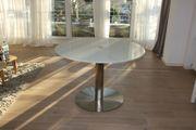 Designer Glastisch mit Edelstahl-Fuß rund