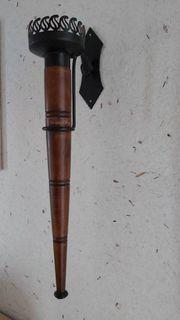 2 Wandfackeln mit Holz