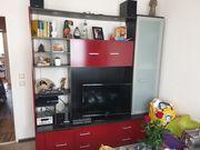 Schrankwand rot schwarz silber für