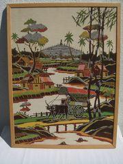 Farbenfrohe BATIK - Motiv asiatisches Dorf -