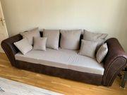 Sofa Couch beige - ausziehbar mit