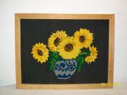Stickbild Sonnenblumen auf Leinenstoff im