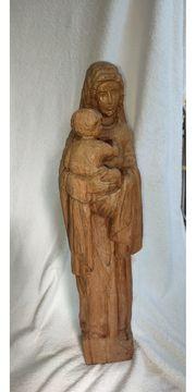 Madonna mit Kind Naturholz geschnitzt