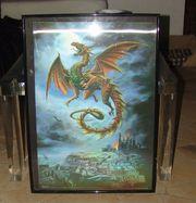 Bild Poster Drachen 3D schwarzer