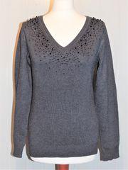 Feinstrick Pullover grau mit schwarzen