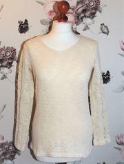 Dünner Pullover Spitze beige von