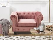 Sessel Samtstoff rosa CHESTERFIELD neu -