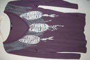 Shirt Langarm lila mit Muster