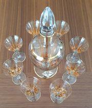 Kristall Likörset mit 8 Gläser