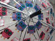 NEU Regenschirm transparent mit Eulenmotiv