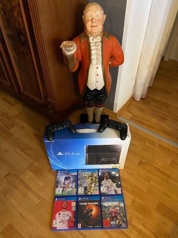 PS4 / PlayStation 4, 2 Controller u. 6 Spielen in OVP! Neuwertig