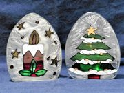 Schöne Kerzenflammenförmige weihnachtliche Teelichthalter aus