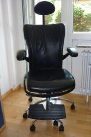 Bürodrehstuhl Leder schwarz Programm Skye