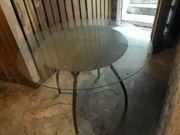 Tisch mit Glasplatte Durchmesser 1m