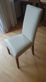 Esszimmer Stühle Kunstleder cremefarben 5