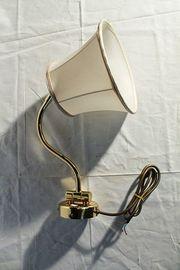 Wandlampe - Messing - Schirm weiss - Schwenkbar