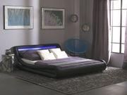 Bett Kunstleder schwarz 160 x