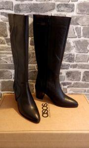 Damen Lederstiefel Schwarz Gr 40 -