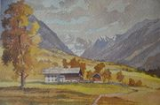Hermann Kauschke Aquarell Billatal Tirol