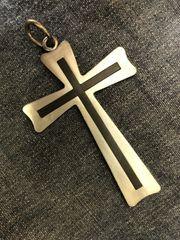 Grosses antikes Kreuz Silber Schwarz