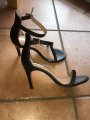 Sandalen schwarz Leder Gr 37