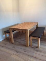 Esstisch mit Bänken Buche 160cm