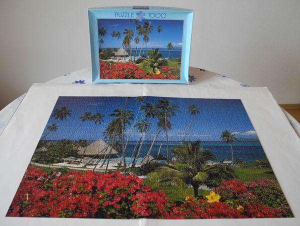 Puzzle Südsee Strand mit Palmen