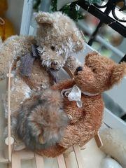 Alter Puppen oder Bären Schlitten