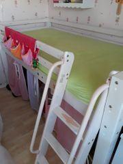 Kinderhochbett weiß mit rosa lila