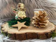 Adventsgesteck mit Engel Gold