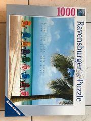 Puzzle Ravensburger Strand Liegestühle 1000
